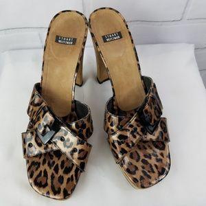 Stuart Weitzman Patent Leopard Print Slides Sandal